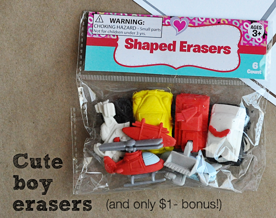 Boy erasers for Valentines day