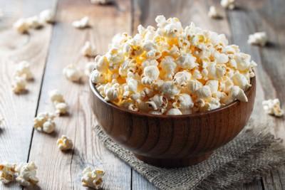 sesame popcorn in a bowl