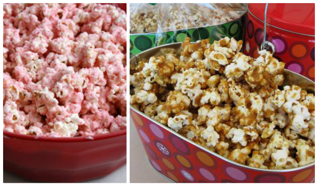 Popcorn flavored with peppermint and caramel corn
