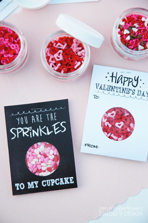 You are the Sprinkles to My Cupcake Chalkboard Art Valentines Day Cards