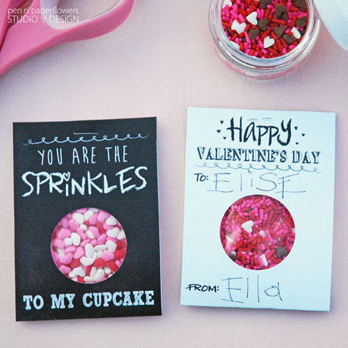 Front and back of the Chalkboard Art Valentine's Day Cards