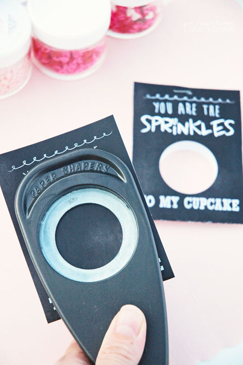 Create a 1.5 inch circle in the middle of the Valentine Card using a round craft punch