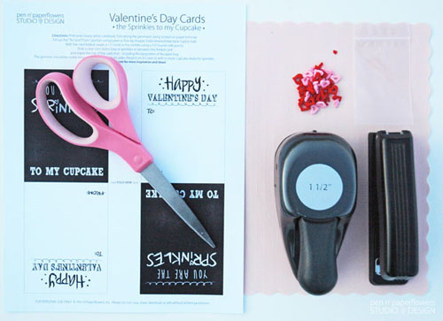 Supplies needed to create DIY Sprinkles to my Cupcake Valentine card: printable card, scissors, 1.5 inch circle punch, mini zip closure bag, stapler, and sprinkles