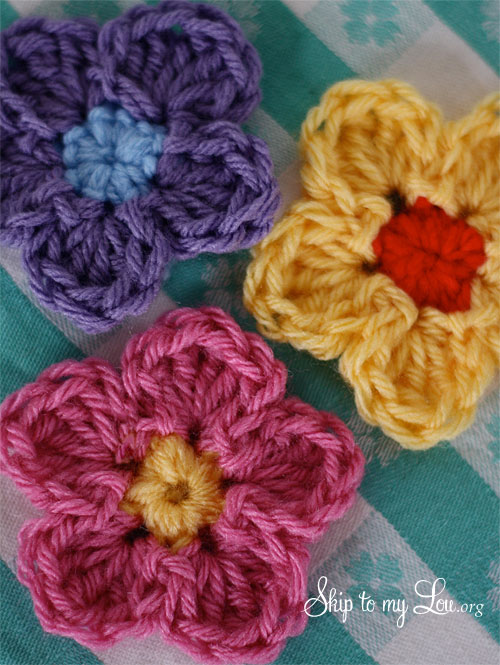 Free Crochet Pattern Simple Flower : Gallery For > Easy Crochet Flower Pattern For Beginners