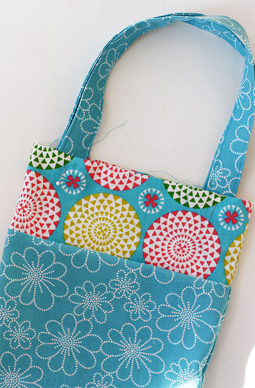Starting At A Side Sew Around The Whole Top Of Tote Making Sure Handles Are Flat As You Over Them When Finish Seam