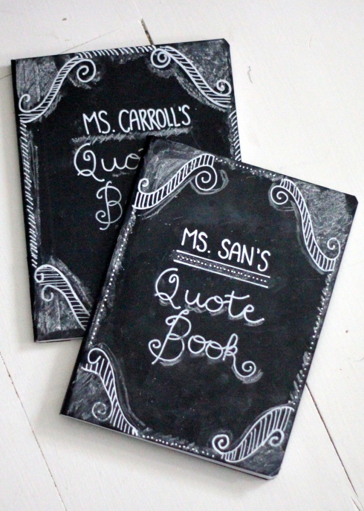 chalkboard notebook teacher appreciation gift