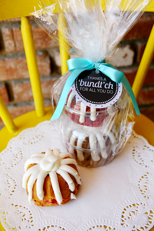 wrapped bundt cakes with free thank you gift tag attached