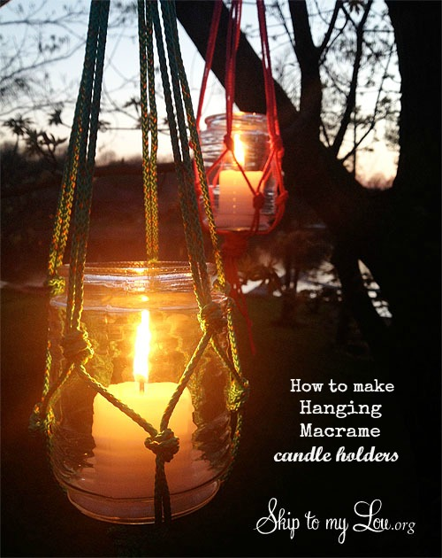 macrame hanging candle holder