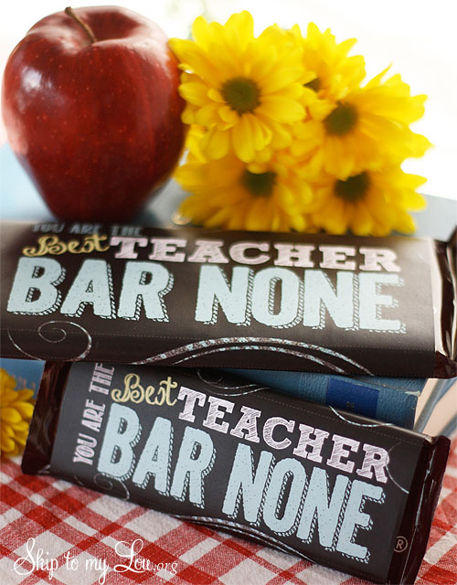 printable candy bar wrapper / cover for a teacher