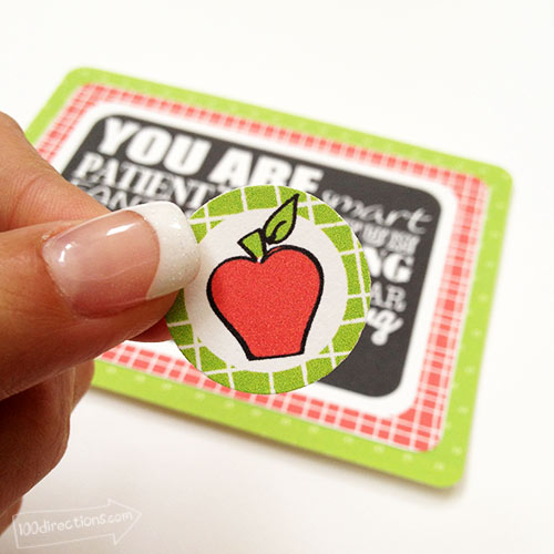Apple sticker to add to your teacher appreciation card