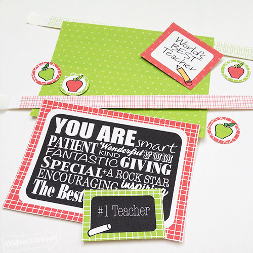 Printable teacher appreciation card kit pieces