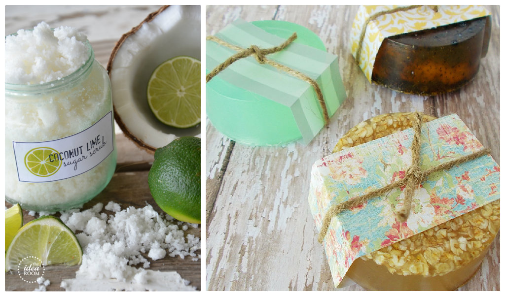 gift ideas - coconut lime sugar scrub; and homemade green, brown and yellow soaps in a second image