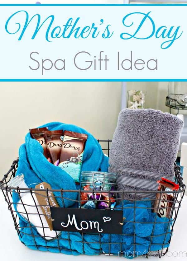 beautiful mother's day gift idea - mother's day spa gift basket idea, the basket is a wire basket with a plaque that says mom attached and is filled with towels, lotion, chocolates, and scrubbies