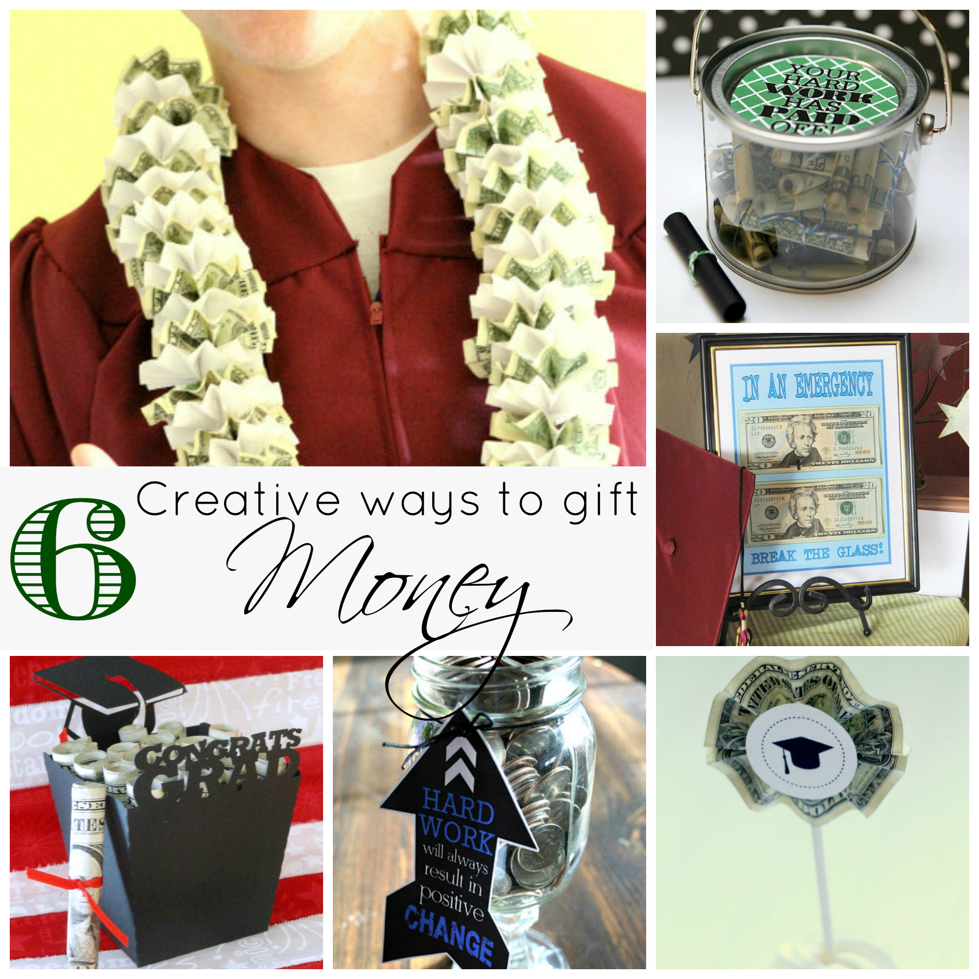 Graduation gift ideas roll up the money to resemble diplomas in a money bucket by eighteen25 a money lei is a great conversation piece by lil luna money gift ideas negle Choice Image