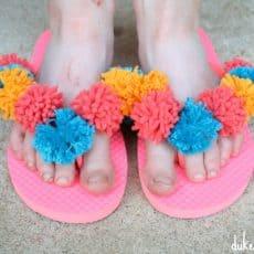 Pom Pom Flip Flops