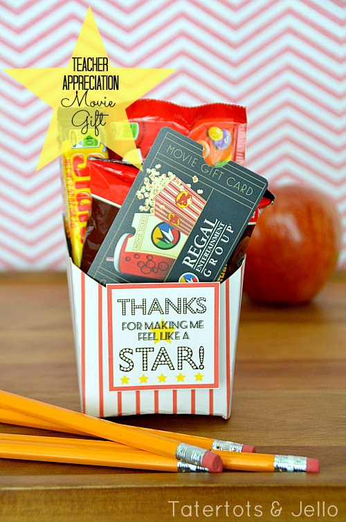 teacher appreciation gift movie gift card idea