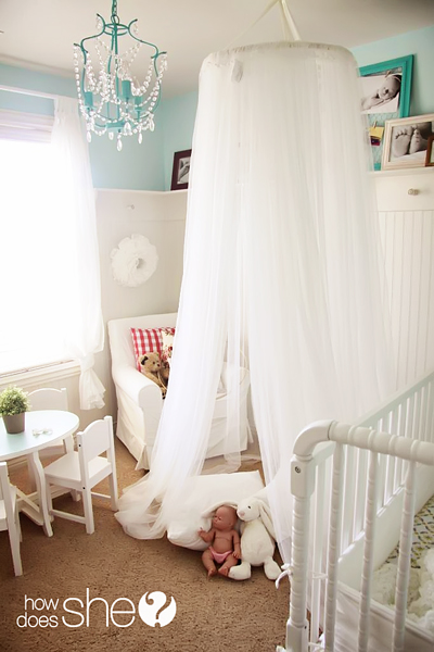 Make the Indoors Magical in the Summer too by How Does She & DIY Canopy tent