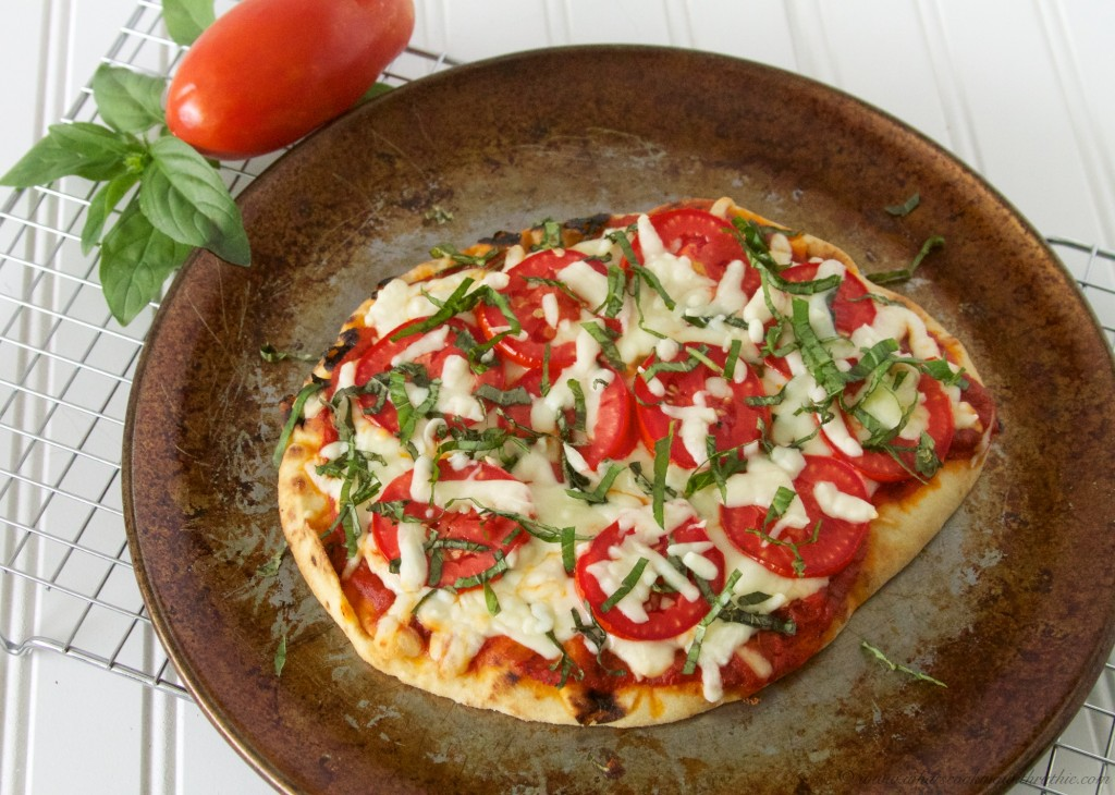 Margherita Naan Bread Pizza by www.whatscookingwithruthie.com