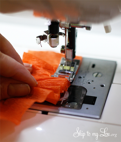 gathering crepe paper on a sewing machine