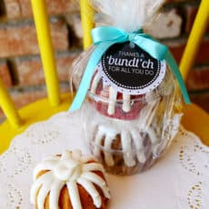bundt cakes with printable teacher thank you tag
