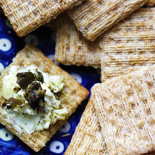 delicious basil pesto cream cheese spread