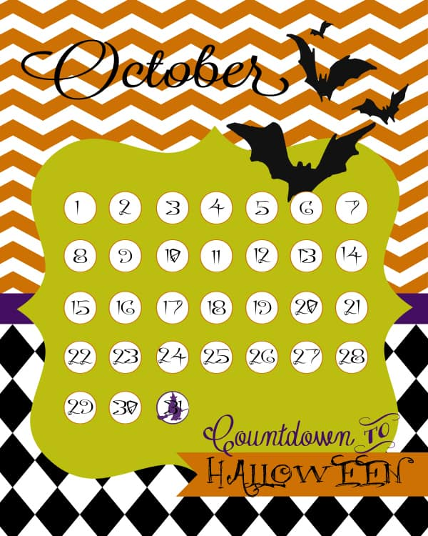 printable countdown to hallowen orange black green white with chevron and bats