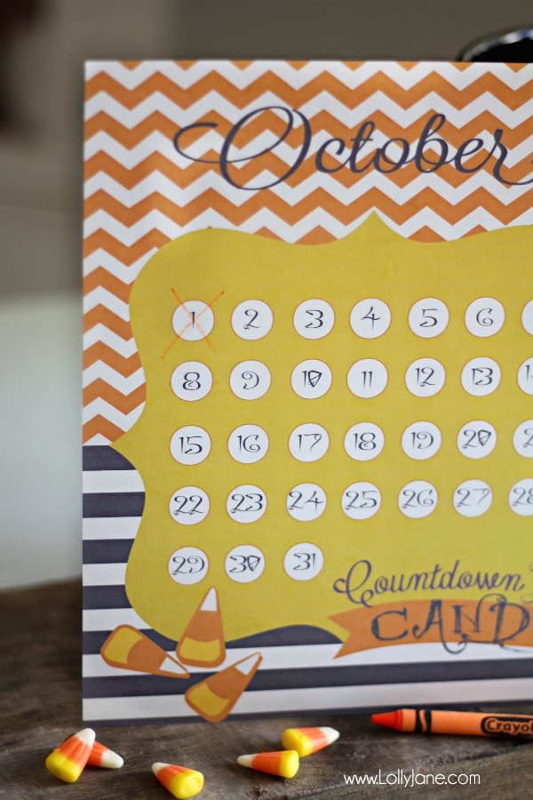 colorful halloween countdown printable