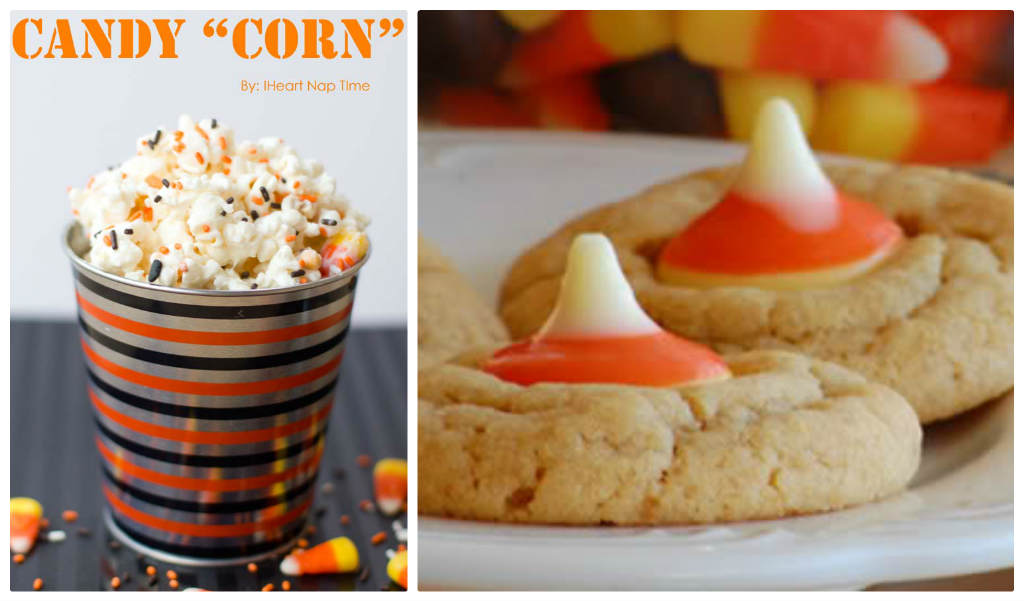 candy corn popcorn, candy corn kiss cookies