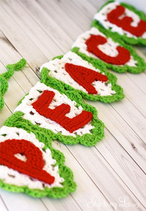 crochet peace bunting