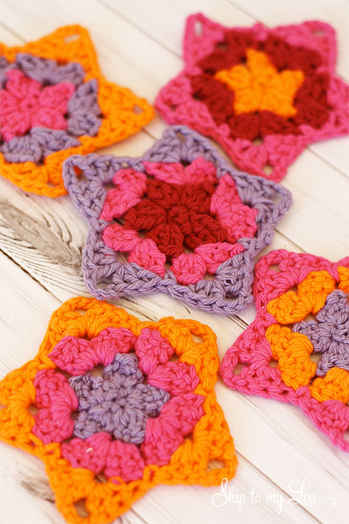 colorful crochet granny stars