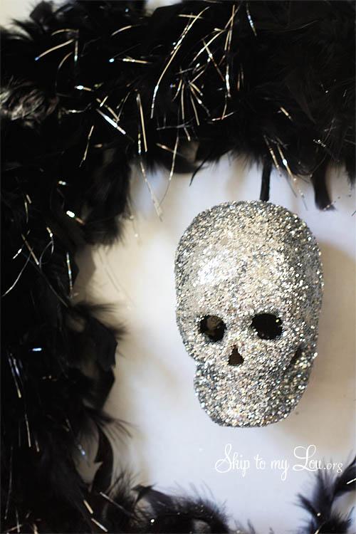 Halloween Wreath with Glittered Skull