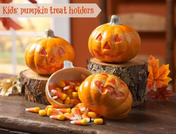 kids pumpkin treat holders