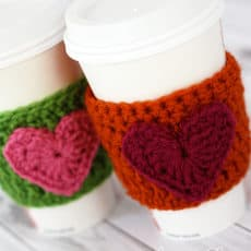 crochet heart coffee cozy