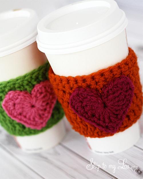 crochet heart coffee cozy