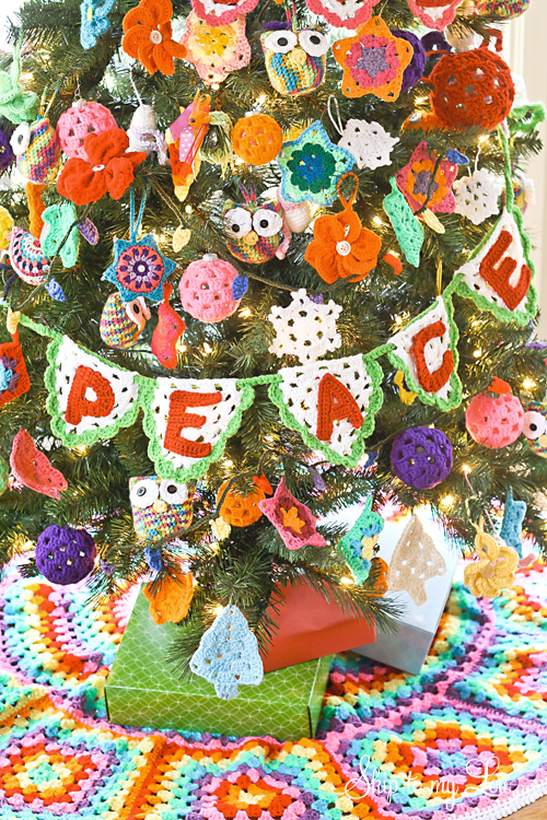 decorated christmas tree with crochet ornaments