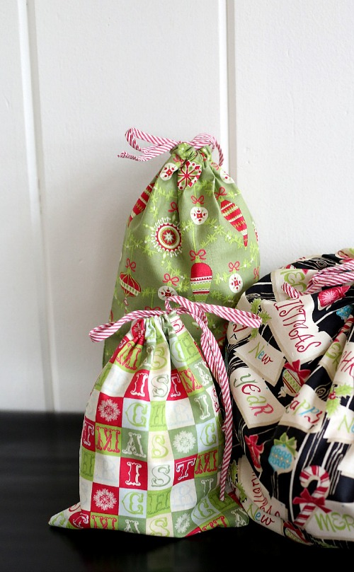 Reusable Fabric Gift Bags by Lindsay Wilkes from The Cottage Mama. www.thecottagemama.com