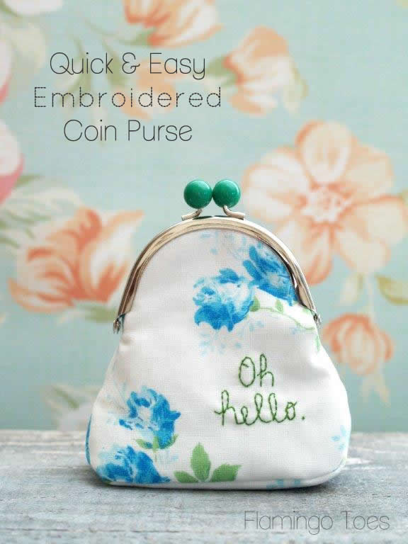 Quick and Easy Embroidered Coin Purse by Flamingo Toes | Skip To My Lou