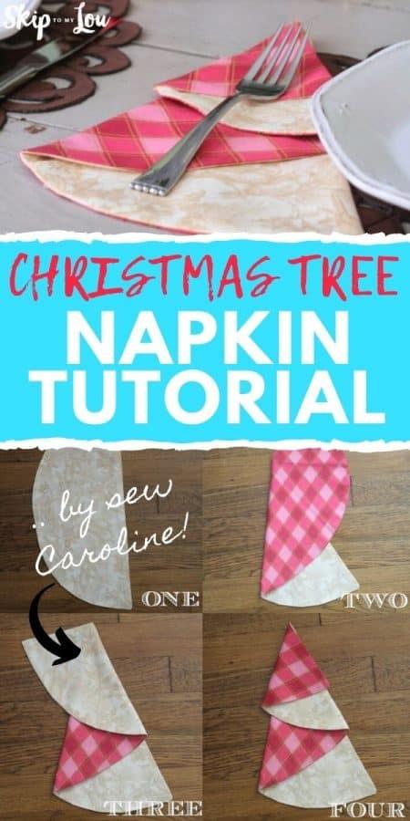 christmas tree napkin tutorial PIN