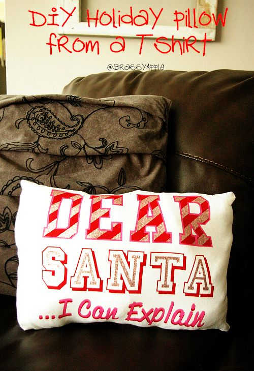 holiday pillow refashion from tshirt