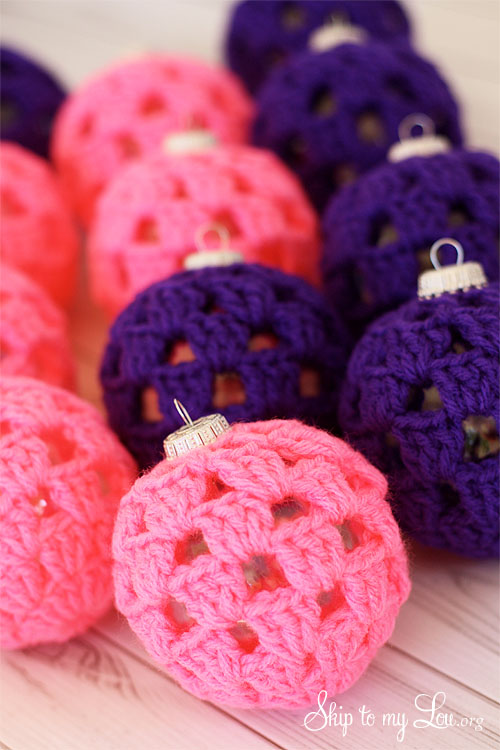 pink and purple crochet balls