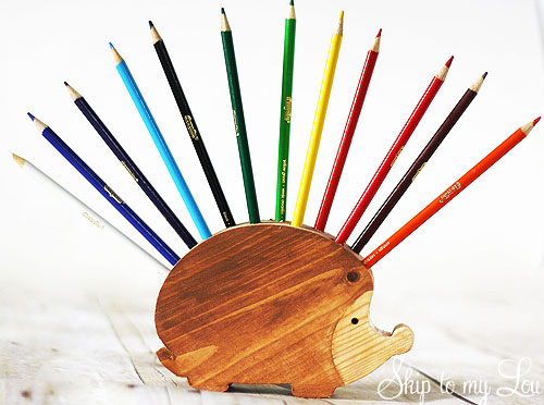 wooden hedgehog pencil holder