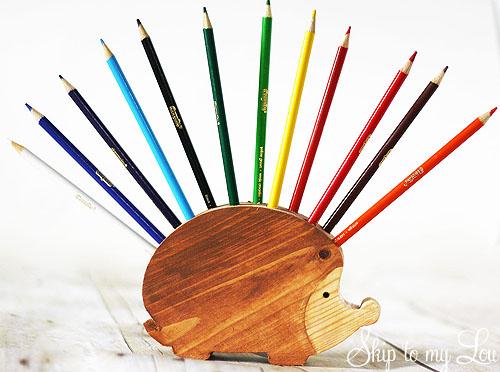 Handmade Pen Stand Designs : Wooden hedgehog pencil holder handmade gift skip to my lou