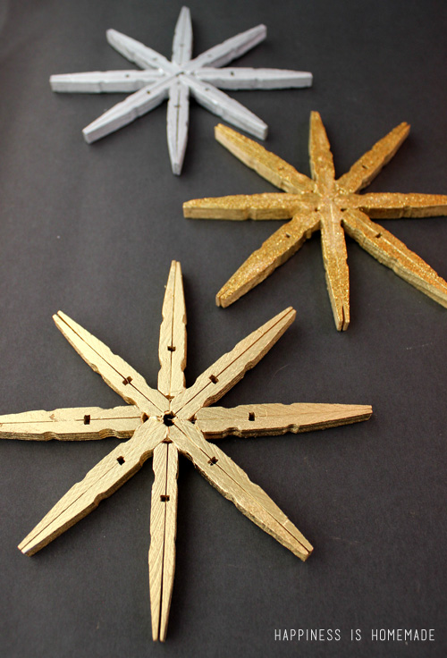 Clothespin Winter Snowflakes