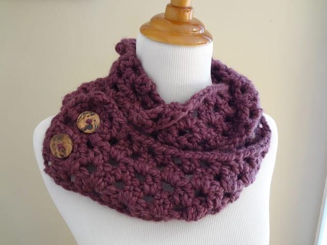 Fiona button crochet scarf