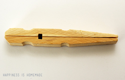 Glue two clothespin halves back to back