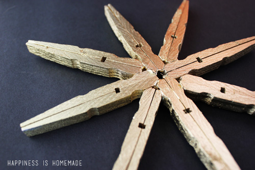 Gold Clothespin Snowflake Christmas Decoration