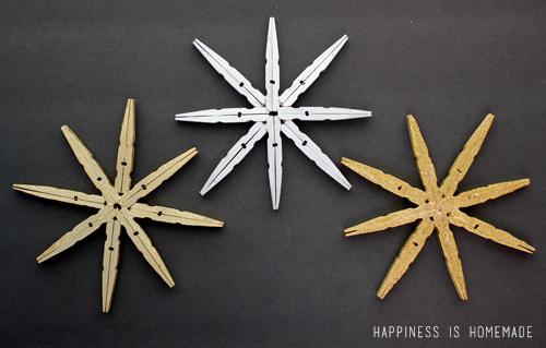 Gold & Silver Metallic Clothespin Snowflakes