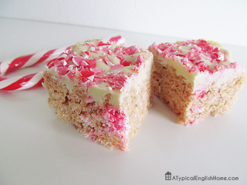 candy cane rice krispie treats