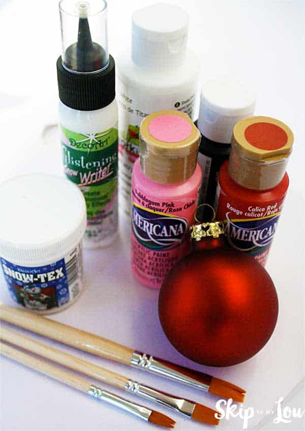 paint glass ball paint brushes supplies painted santa ornament
