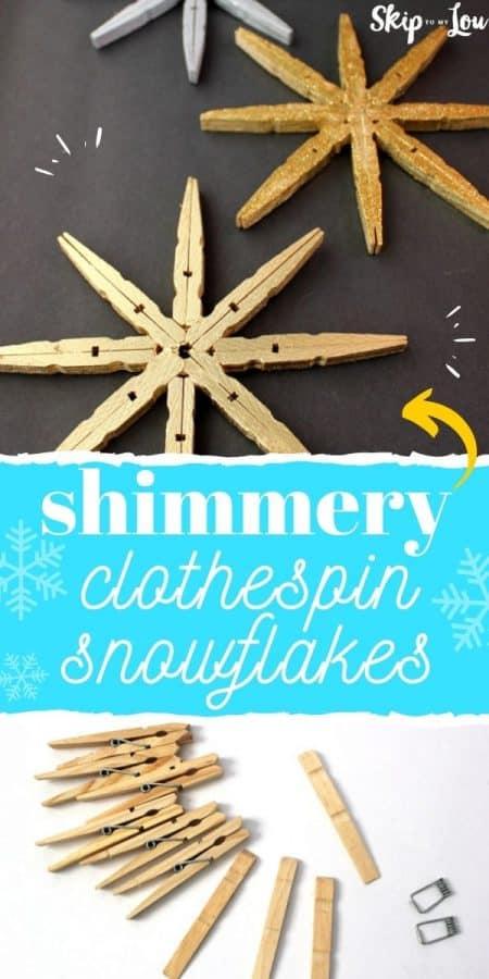 shimmery clothespin snowflakes diy PIN